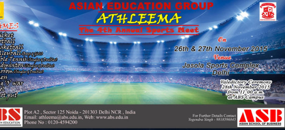 """ASIAN EDUCATION GROUP TO ORGANISE """"ATHLEEMA: THE 4TH ANNUAL SPORTS MEET"""""""