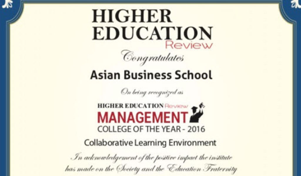 """""""Higher Education Review Award"""" Conferred"""