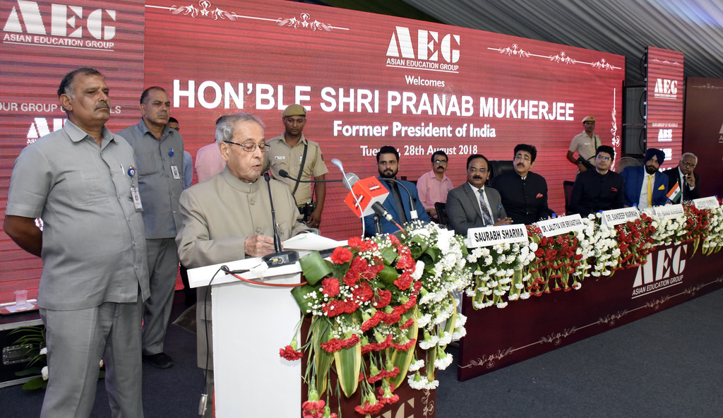 Hon'ble Shri. Pranab Mukherjee, Former President of India lauding and congratulating Asian Education Group