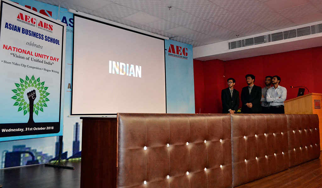 Celebration of National Unity Day (CSR and Gnosis Club) at Asian Business School