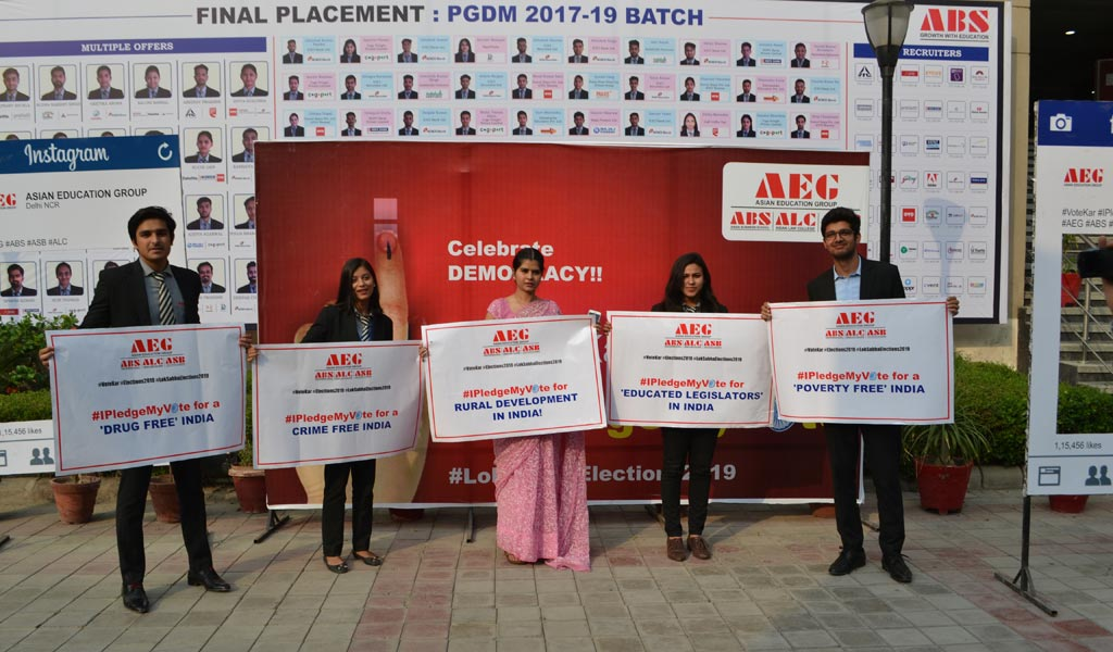 PGDM students of Asian Business School joins in AEG's #IPledgeMyVote for a better India campaign with great enthusiasm!
