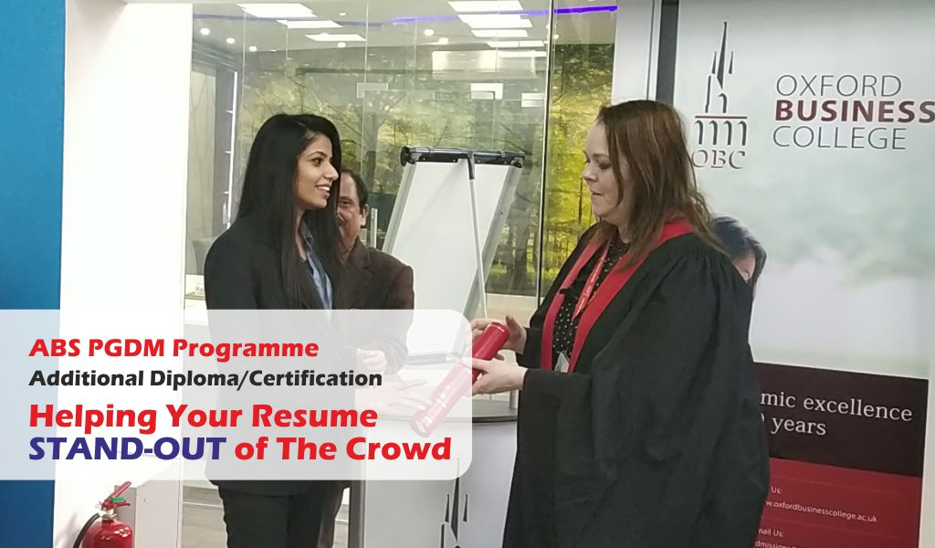Collaborative Programme with PGDM helps your resume stand-out of the crowd!
