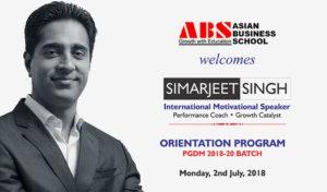 Distinguished Speakers at ABS - International Motivational Speaker, Simerjeet Singh illumines ABS PGDM students