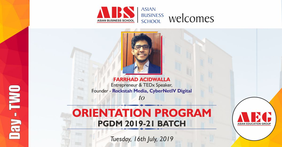 Mr. Farrhad Acidwalla to deliver a Guest Lecture under the LEAD Lecture Series at ABS PGDM Orientation Program 2019!