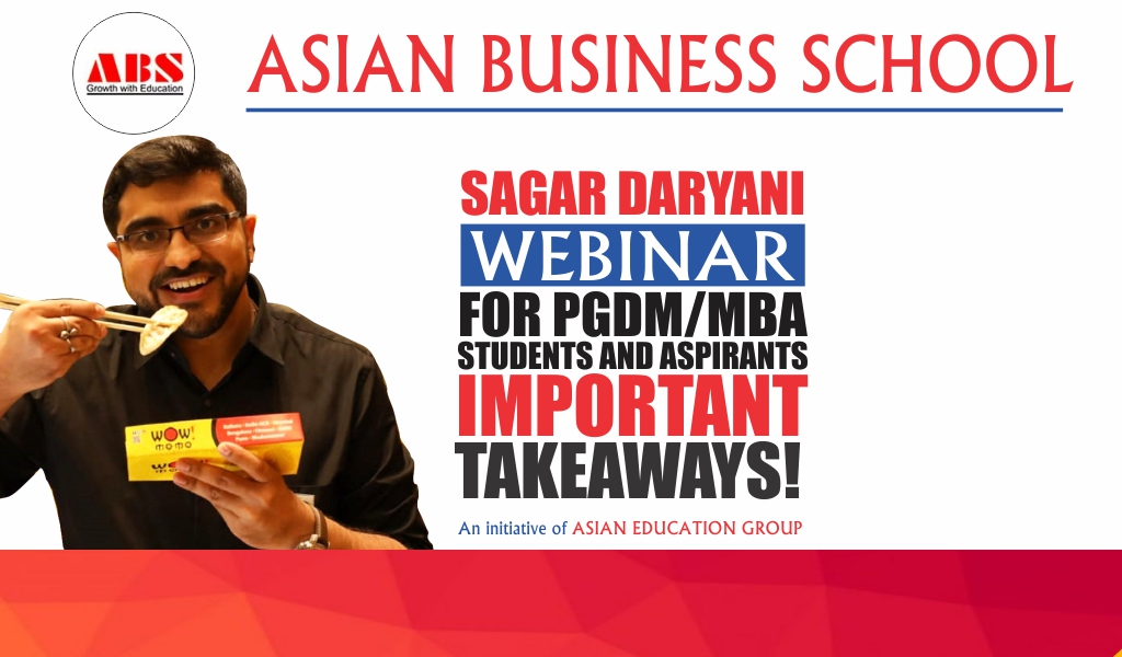 ABS Organizes a Spirited Live Session on 'The Entrepreneurial Journey of Wow! Momo' by its Co-Founder & CEO, Sagar Daryani