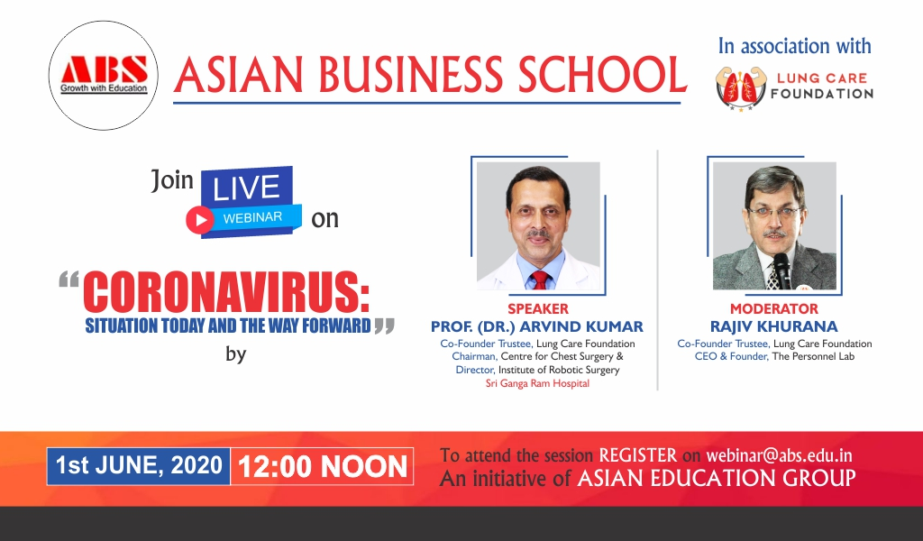 ABS to Organize a Live Session on 'Coronavirus: Situation Today and the Way forward' by Lung Care Foundation