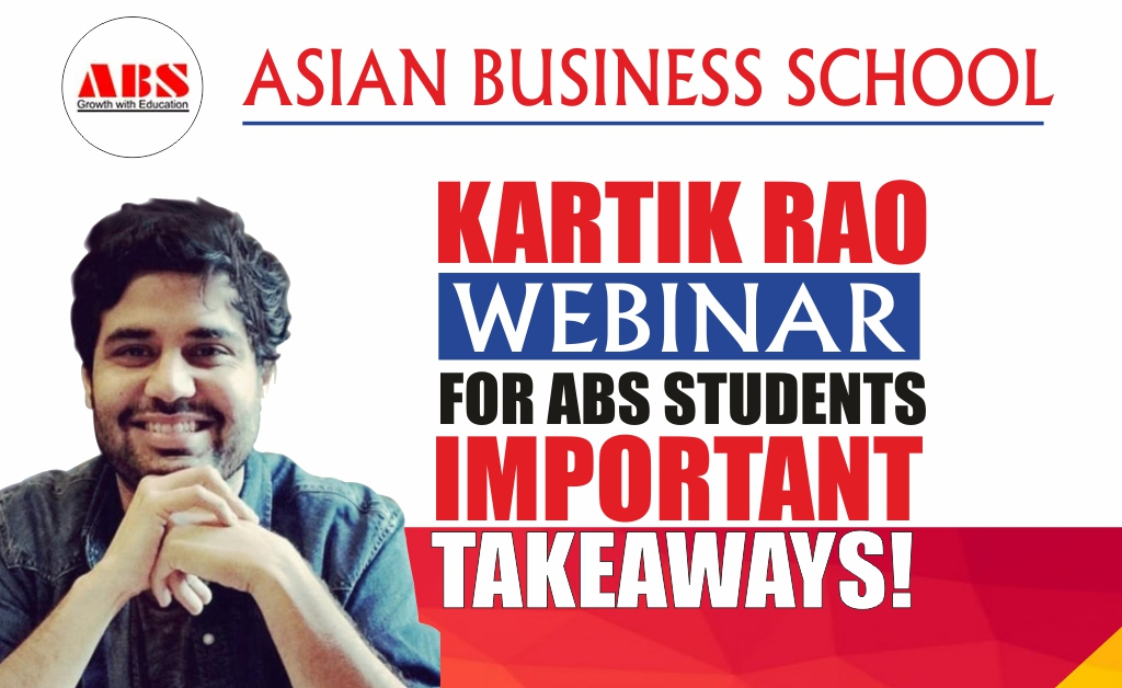 "KARTIK RAO, Chief of Staff & Head HR, Bewakoof.com offers an illuminating live webinar session on ""ALIGNING TALENT TO BUSINESS REQUIREMENT"" at ABS!"