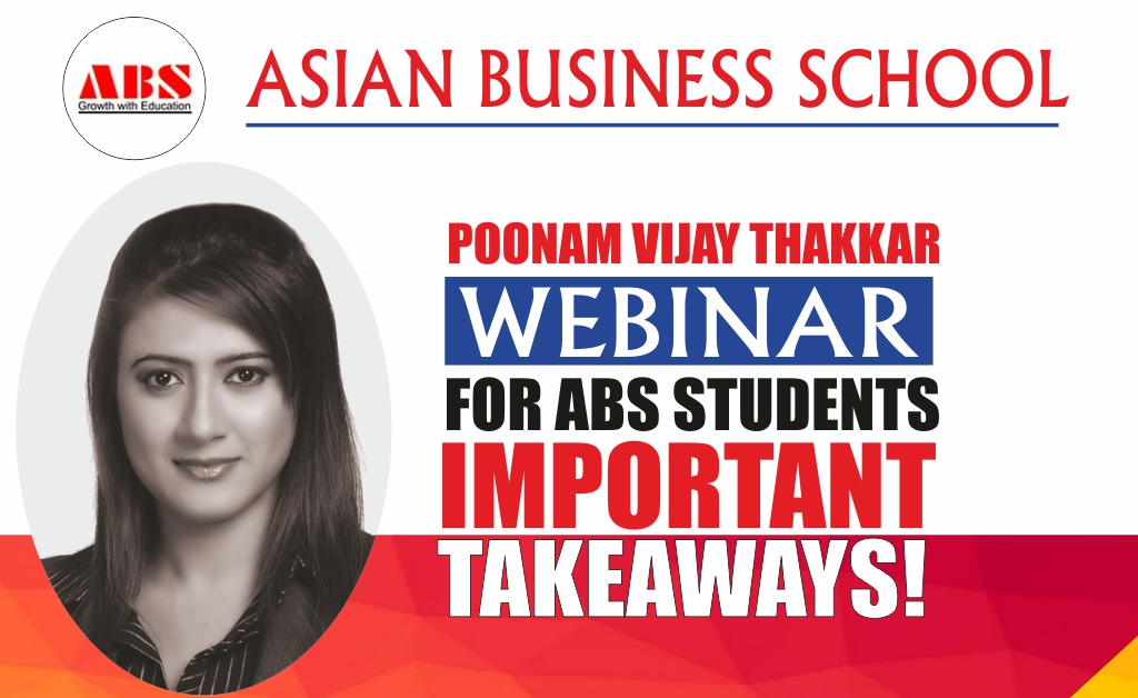 """Corporate Resource Cell organised a webinar with Poonam Vijay Thakkar, Industry Expert-Marketing, Digital, Content & Analytics, Mentor of Change-NitiAayog (GOI) renders a powerful, envisioning live webinar session on """"THE ART OF SCALING NEW HEIGHTS"""" at ABS!"""
