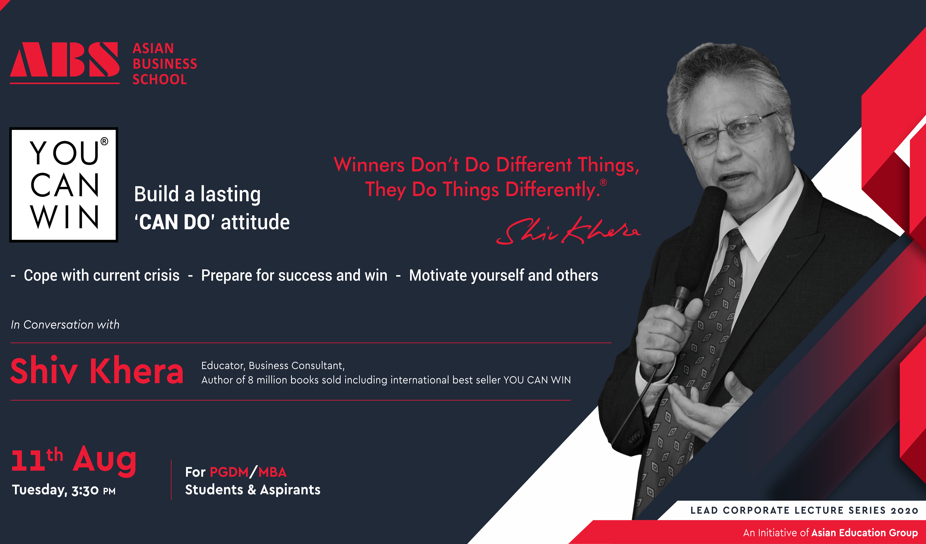 """ABS to Host Shiv Khera of International Best Seller """"You Can Win"""" Fame for an Interactive Webinar on """"Building a Lasting CAN DO Attitude"""""""