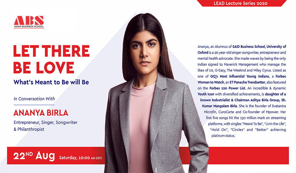 """ABS Live Interactive Session with the """"Youth Icon"""" Ananya Birla"""