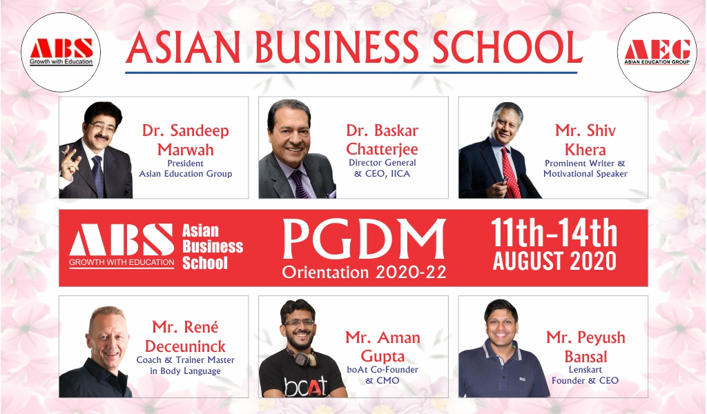 Asian Business School holds its PGDM Orientation 2020 Program with great solemnity, albeit virtually!