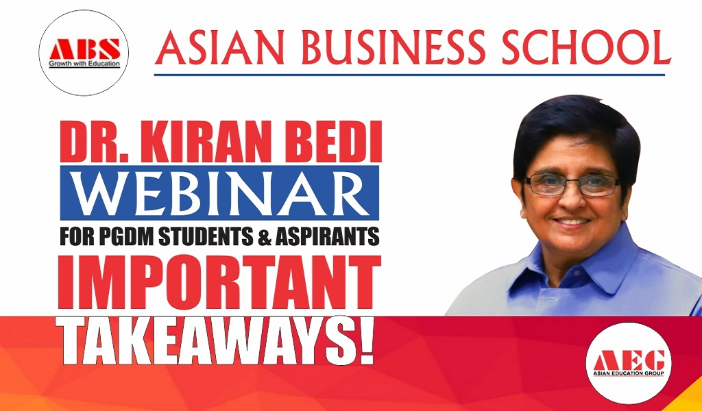 """DR. KIRAN BEDI delivers a truly invigorating Live Session on """"IMPORTANCE OF DISCIPLINE & INTEGRITY IN EVERYDAY LIFE"""" for ASB PGDM Students!"""
