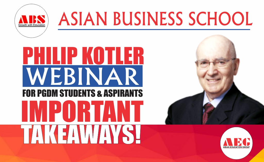 "PROF. PHILIP KOTLER – ""The Father of Marketing"" – presents a most insightful Live Session on ""COVID Impact: Marketing Strategies for New Normal"" for ABS PGDM Students!"