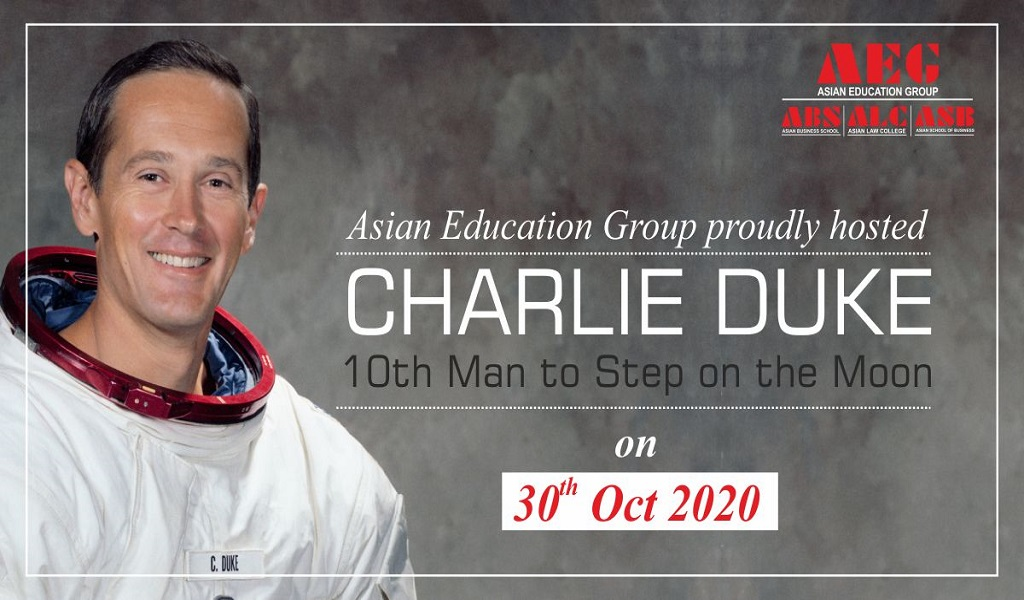 """Mr. Charlie Duke – """"The 10th Man to Walk on the Moon"""" – brings alive his mesmerizing experiences for ABS PGDM students by way of a live session!"""