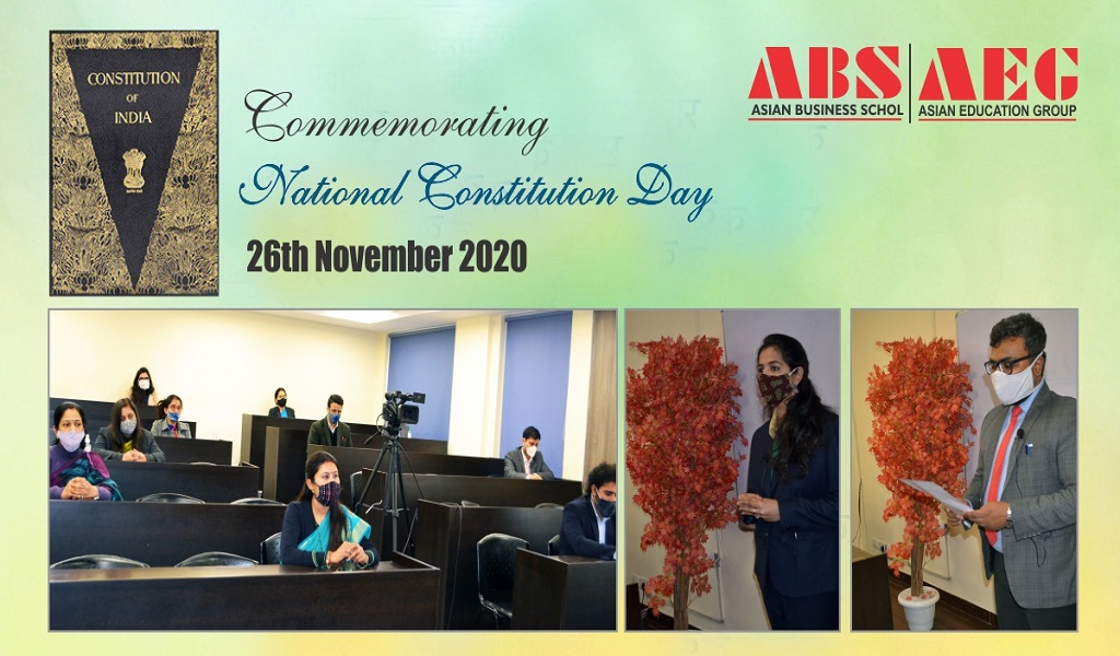 """Asian Business School commemorates """"National Constitution Day"""" on 26th November 2020 with due solemnity"""