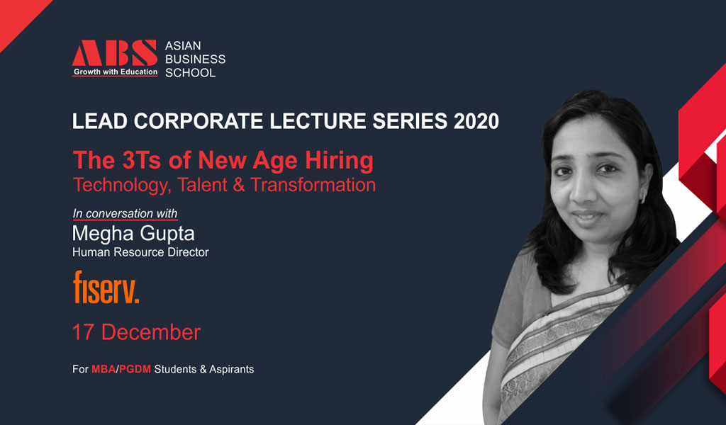 """Ms. MEGHA GUPTA, Director-HR, Fiserv offers an intense, information-loaded live session on """"THE 3 Ts OF NEW AGE HIRING"""" for ABS PGDM students!"""