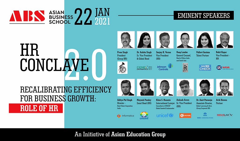 Asian Business School to host a high-pitched human resource meet, 'AEG HR CONCLAVE 2.0' on Friday, 22nd January 2021!